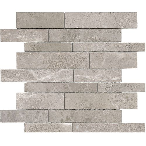 Enigma Salo 12-inch x 12 inch Random Strip Honed Marble Mosaic Tile (10 sq.ft. / case)