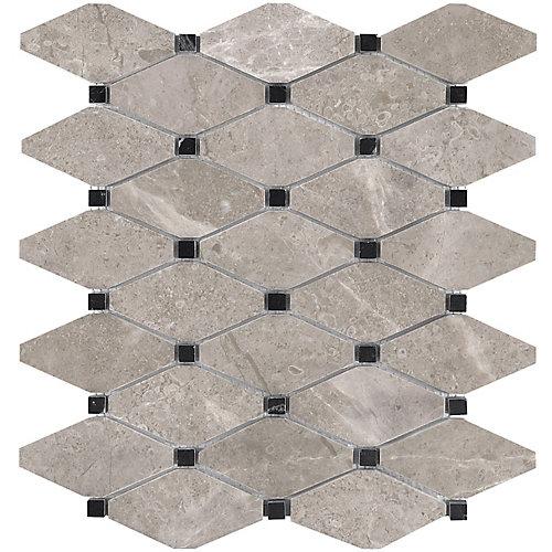 Carreaux fr mosaïques Salo, 10,5 po x 12 po, marbre adouci en losanges tronqués (9 pi2/boîte)