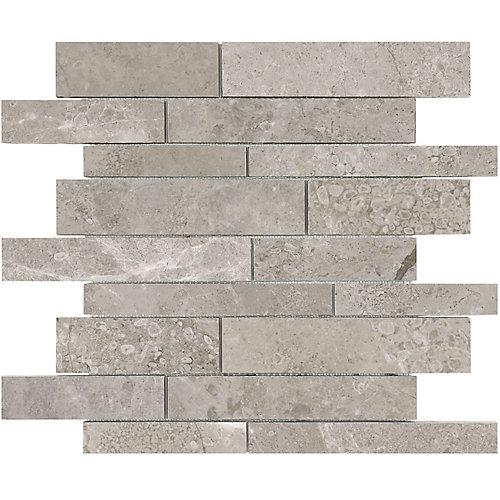 Carreaux de mosaïque Salo, 12 po x 12 po, bandes aléatoires en marbre poli (10 pi2/boîte)
