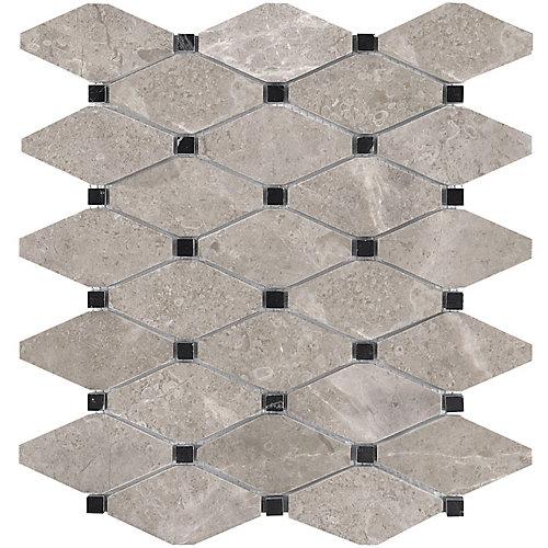 Carreaux de mosaïque Sala, 10,5 po x 12 po, marbre poli en losanges tronqués (9 pi2/boîte)