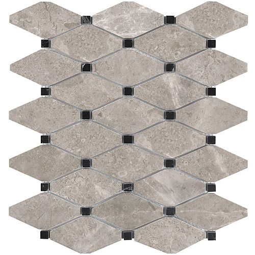 Enigma Salo 10.5-inch x 12-inch Clipped Diamond Polished Marble Mosaic Tile (9 sq.ft. / case)