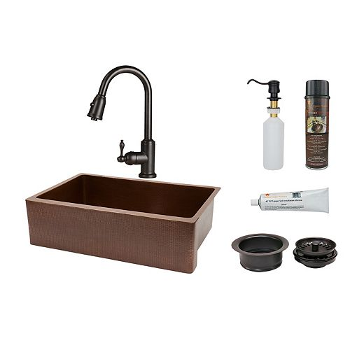 Premier Copper Products All-in-One Farmhouse/Apron-Front Copper 33 inch 0-Hole Kitchen Apron Sink in Antique Copper