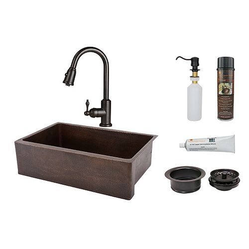 Premier Copper Products All-in-One Farmhouse/Apron-Front Copper 25 inch 0-Hole Single Bowl Kitchen Apron Sink in ORB