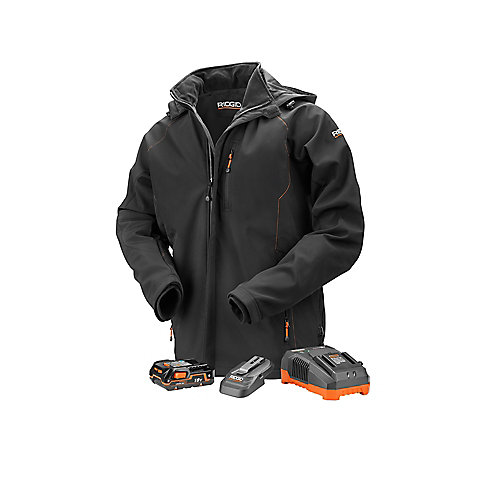 Men's Small Black 18V Lithium-Ion Cordless Heated Jacket with (1) 1.5 Ah Battery and Charger