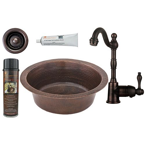 Premier Copper Products All-in-One 14 inch Round Copper Bar Sink in Oil Rubbed Bronze with 2 inch Drain Opening