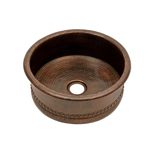 Premier Copper Products Round Hammered Copper 15 inch 0-Hole Bar Vessel Tub Sink in Oil Rubbed Bronze