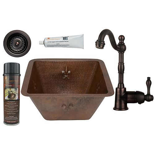 Premier Copper Products All-in-One 15 inch Square Fleur De Lis Copper Bar Sink in ORB and 3.5 inch Strainer Drain