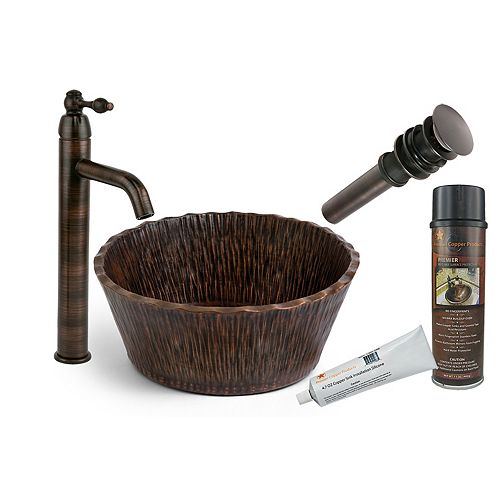 Premier Copper Products All-in-One Round Forest Vessel Hammered Copper Bathroom Sink in Oil Rubbed Bronze