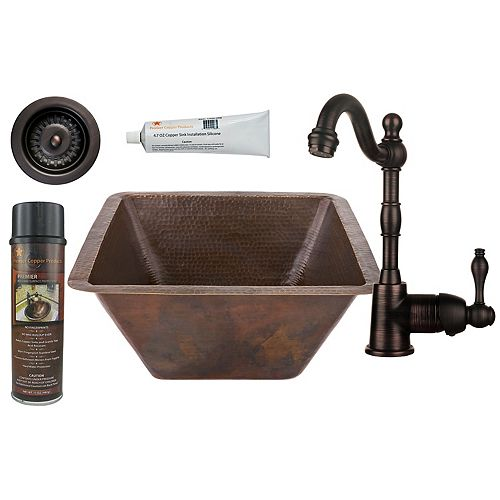 Premier Copper Products All-in-One 17 inch Square Copper Bar Sink in ORB with 3.5 inch Drain Opening and Strainer Drain