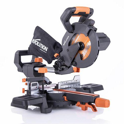Evolution Power Tools Scie à onglets mixtes coulissante de 10 A, 7 1/4 po avec lame à matériaux multiples 20-T