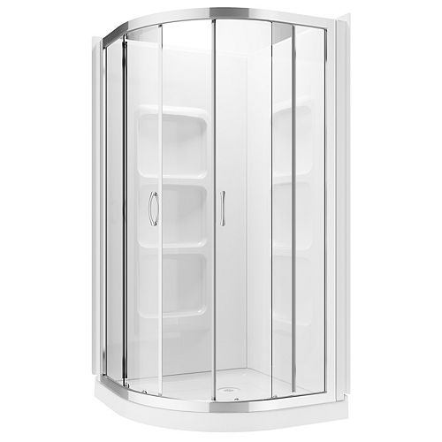 A&E Bath and Shower Casey 3-Piece 6-Shelf Neo-Round Corner Shower Wall and Base Kit with Frameless Sliding Doors
