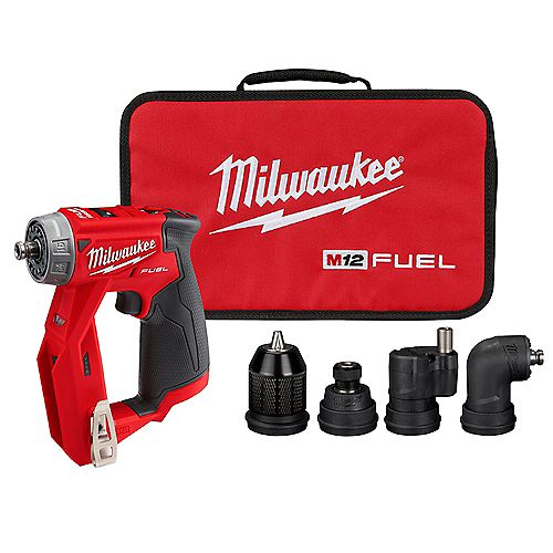 Milwaukee Tool M12 FUEL 12V Li-Ion Brushless 4-in-1 Installation 3/8-inch Drill Driver W/ 4 Tool Head (Tool Only)