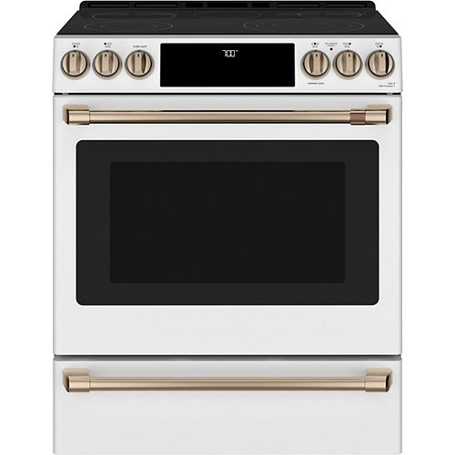 Café 30-inch Slide-in Convection Range with Warming Drawer in Matte White