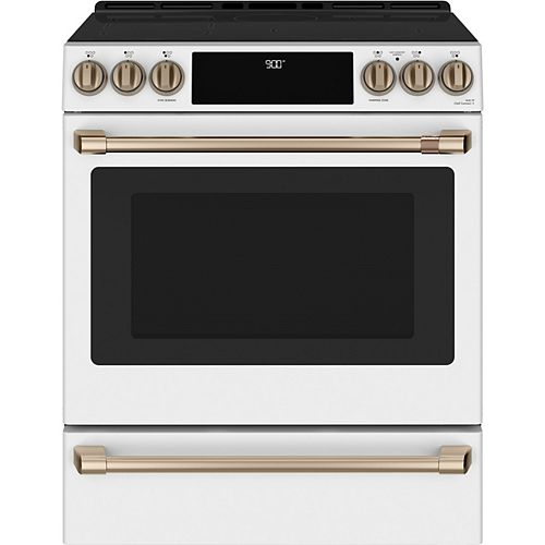 Café 30-inch Slide-In Induction and Convection Range with Warming Drawer in Matte White