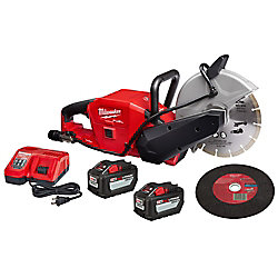 M18 FUEL ONE-KEY 18V Li-Ion Brushless 9 -inch Cut Off Saw Kit W/(2) 12.0Ah Batteries & Rapid Charger