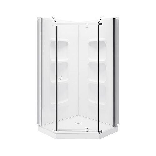 A&E Bath and Shower Lizan 3-Piece 6-Shelf Neo-Angle Corner Shower Wall and Base Kit with Frameless Pivoting Doors