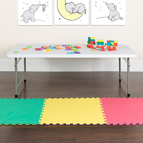 30''W x 60''L x 19''H Kid's Granite White Plastic Folding Table