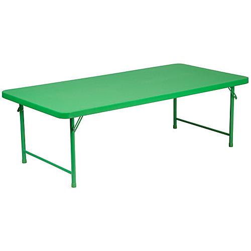 30''W x 60''L x 19''H Kid's Green Plastic Folding Table