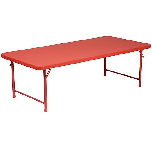 30''W x 60''L x 19''H Kid's Red Plastic Folding Table