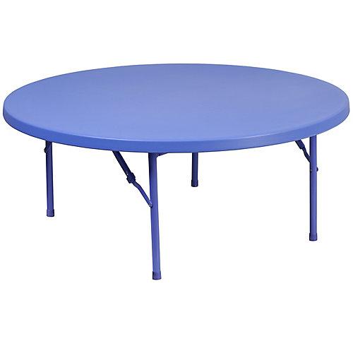 48'' Round Kid's Blue Plastic Folding Table