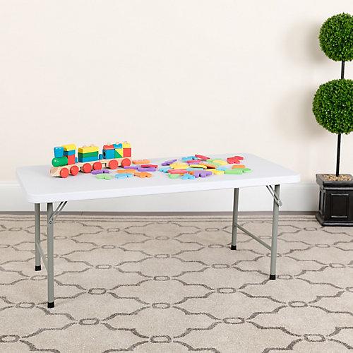 24''W x 48''L x 19''H Kid's Granite White Plastic Folding Table