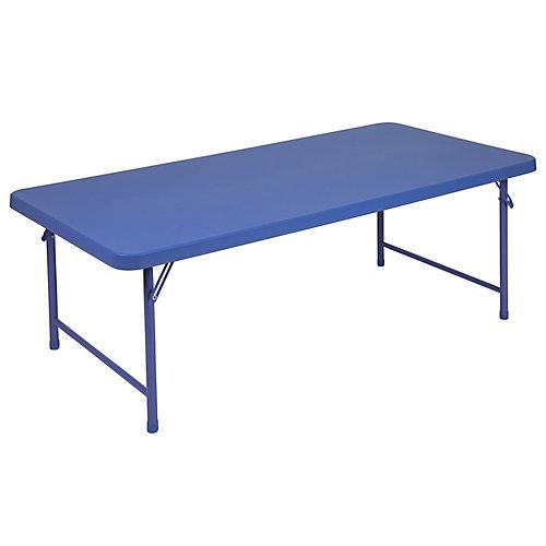 30''W x 60''L x 19''H Kid's Blue Plastic Folding Table