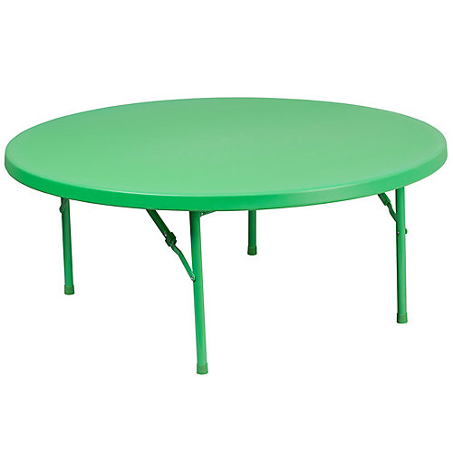 48'' Round Kid's Green Plastic Folding Table