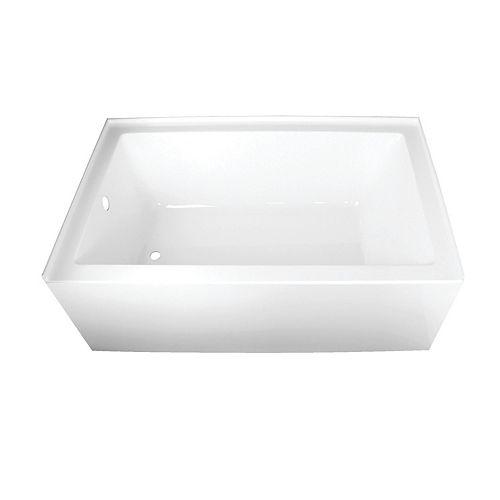 Kingston Brass Ella 60 in. Acrylic Left-Hand Drain Rectangular Alcove Bathtub in White