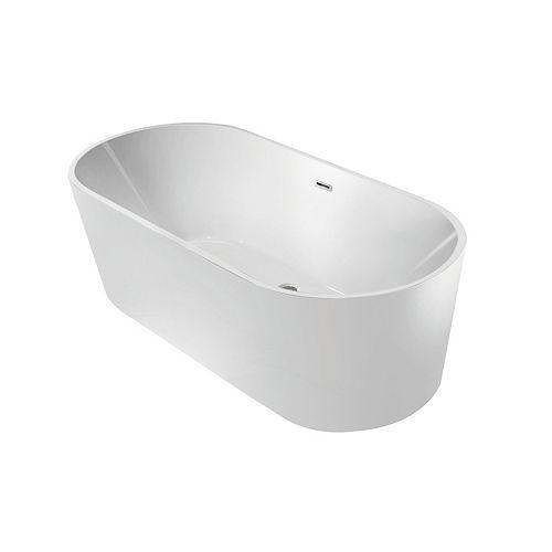 Kingston Brass Contemporary 4.9 ft. Acrylic Flatbottom Freestanding Bathtub in White