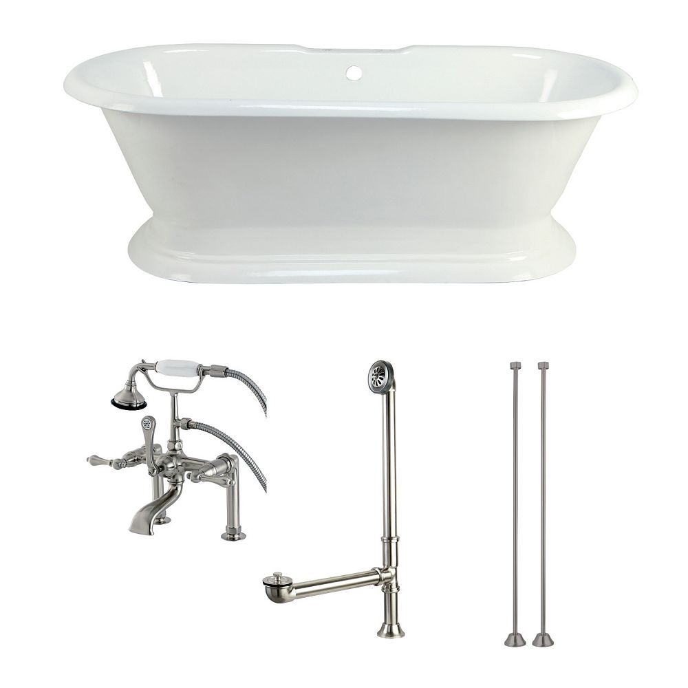 Kingston Brass Pedestal 6 ft. Cast Iron Flatbottom Bathtub in White and Faucet Combo in Satin Nickel