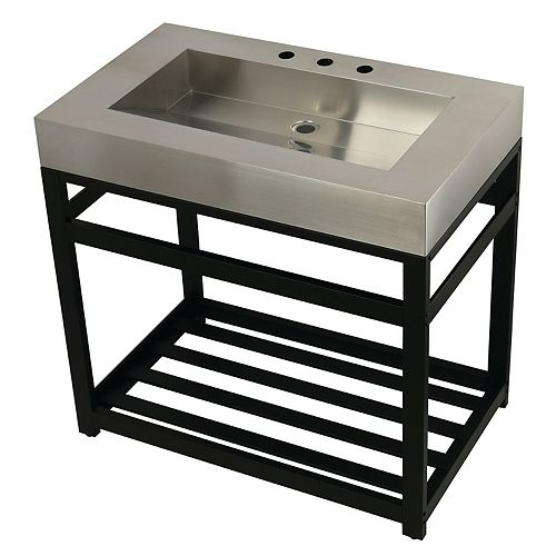 Kingston Brass Stainless Steel 37 in. W x 22 in. D x 35 in. H Console Vanity with Base in Matte Black