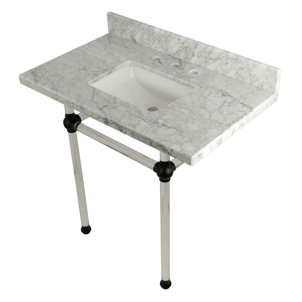 Kingston Brass Square Sink Washstand 36 in. Console Table in Carrara Marble with Acrylic Legs in Matte Black