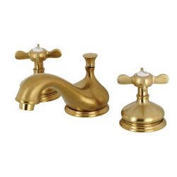 Kingston Brass Classic Cross 8 in. Widespread 2-Handle Bathroom Faucet in Satin Brass