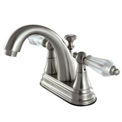 Kingston Brass English Crystal 4 in. Centerset 2-Handle Bathroom Faucet in Satin Nickel