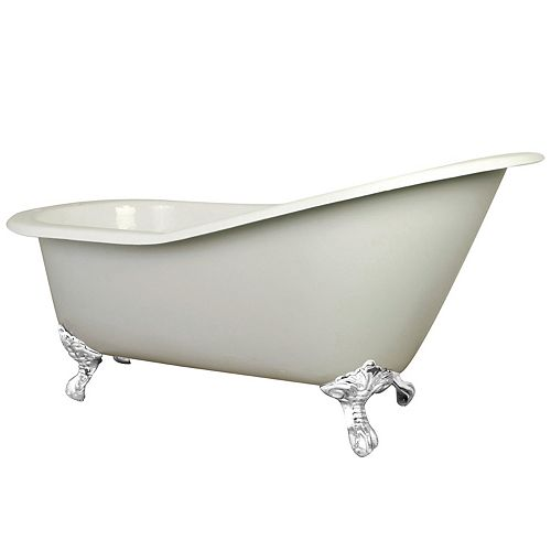 Kingston Brass 5 ft. Cast Iron White Claw Foot Slipper Tub with 7 in. Deck Holes in White