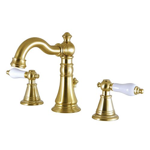 Kingston Brass Classic 8 in. Widespread 2-Handle High-Arc Bathroom Faucet in Satin Brass