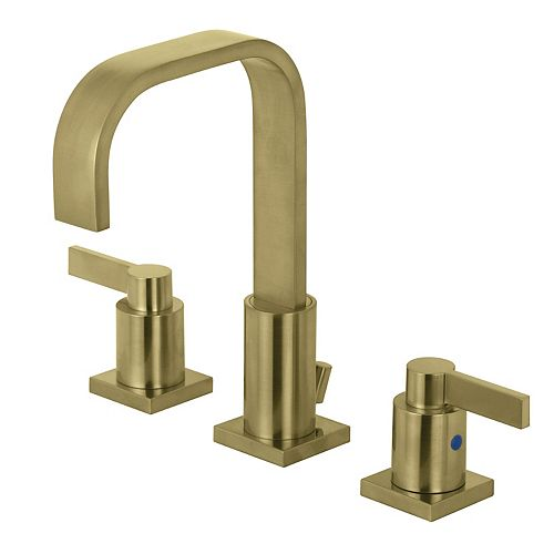 Kingston Brass NuvoFushion 8 in. Widespread 2-Handle High-Arc Bathroom Faucet in Satin Brass