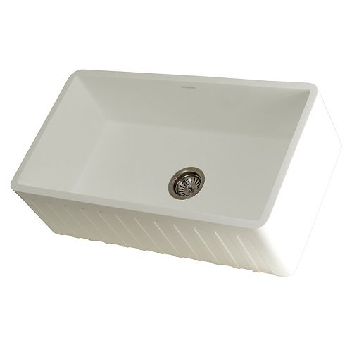 Kingston Brass Bryndle Farmhouse Solid Surface White Stone 33 in. Single Bowl Kitchen Sink