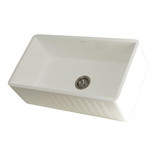 Kingston Brass Hailey Farmhouse Solid Surface White Stone 33 in. Single Bowl Kitchen Sink
