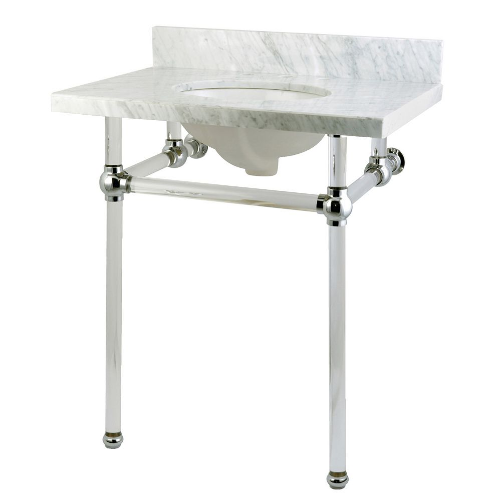 Kingston Brass Washstand 30 in. Console Table in Carrara White with Acrylic Legs and Connectors in Polished Chrome