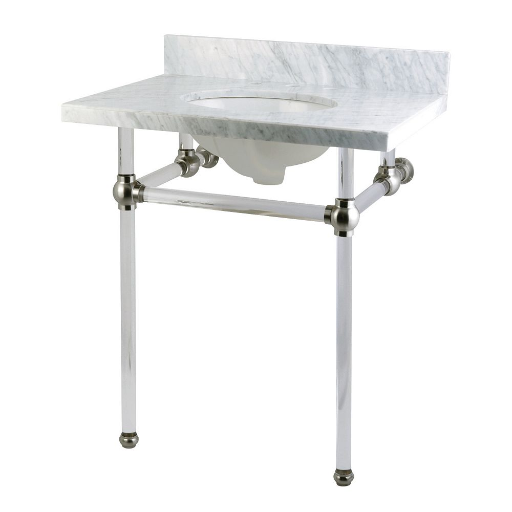 Kingston Brass Washstand 30 in. Console Table in Carrara White with Acrylic Legs and Connectors in Satin Nickel
