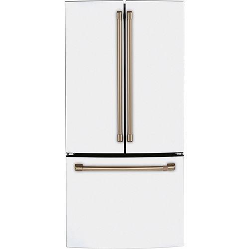 Café Réfrigérateur de 18,6 pi³ à porte française résistant aux empreintes digitales en blanc mat - ENERGY STAR