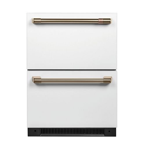 Café 5.7 cu. ft. Built-in Undercounter Dual Drawer Refrigerator with  Fingerprint Resistant in Matte White