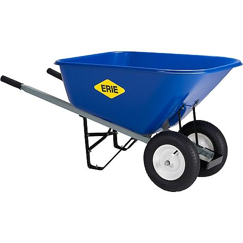 10 cu. ft. XXL Poly Dual Wheel Wheelbarrow with Pneumatic Tire