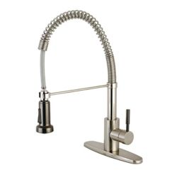 Kingston Brass Modern Single-Handle Pull-Down Sprayer Kitchen Faucet in Brushed Nickel and Black Stainless Steel
