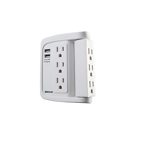 6 Outlet Surge Tap with Phone Cradle 6 Outlet Swivel Tap, 500 Joules with 2 USB Type-A 2.4A