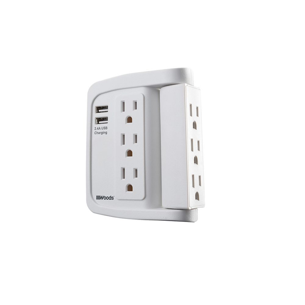 Southwire 6 Outlet Surge Tap with Phone Cradle 6 Outlet Swivel Tap, 500 Joules with 2 USB Type-A 2.4A