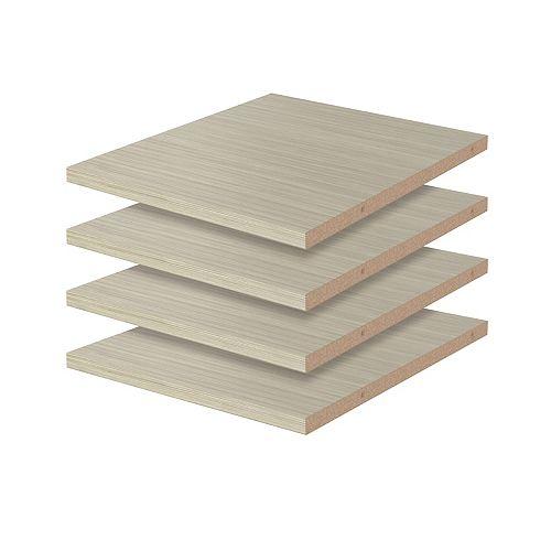 Closet Evolution 12 in. Shelves in Rustic Grey (4-Pack)