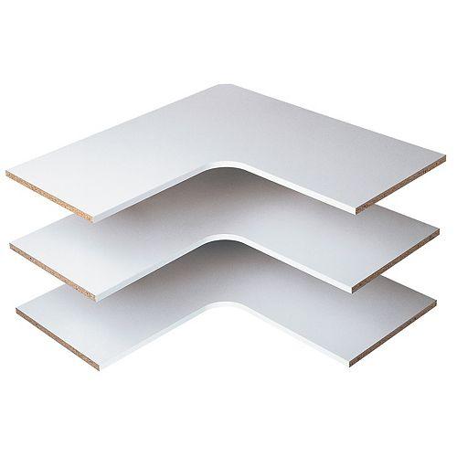 Closet Evolution 30 in. Corner Shelves in White (3-Pack)