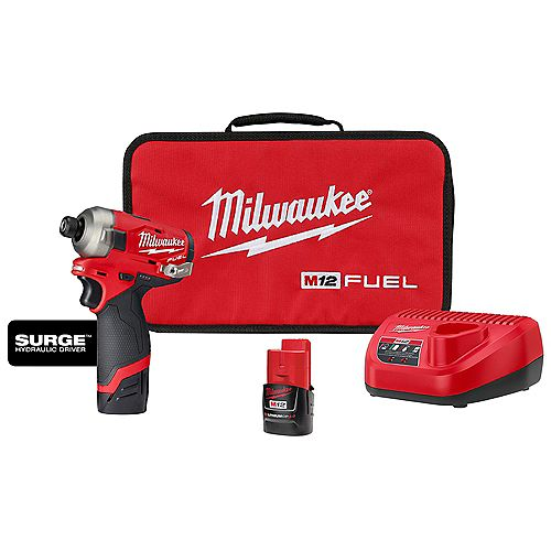 Milwaukee Tool M12 FUEL SURGE 12V Li-Ion Brushless Cordless 1/4 -inch Hex Impact Driver Kit w/(2) 2.0Ah Batteries